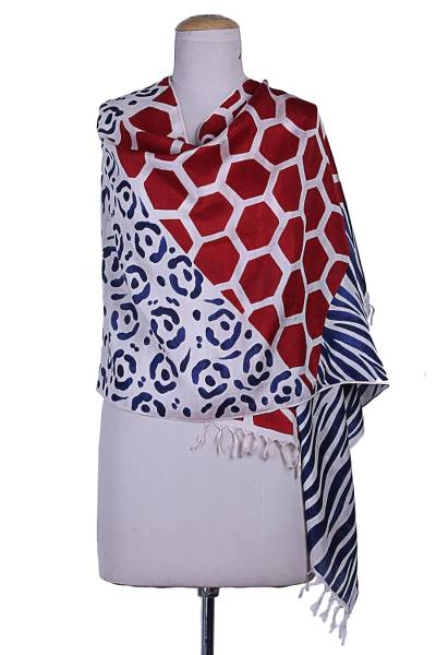 Hand painted silk shawl, 'Safari in Red and Blue' - Hand Woven 100% Silk Shawl with Leopard Motifs from India