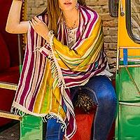 Hand painted silk shawl, 'Golden Dhau' - Handwoven Indian Bishnupur Silk Print Shawl