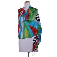 Hand painted silk shawl, 'Bengal Journey' - Colorful Abstract Handpainted Handwoven Bishnupur Silk Shawl
