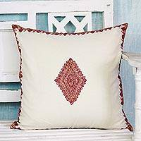 Wool cushion cover, 'Diamond Delight' - Cushion Cover Handcrafted in India Embroidered with Diamond