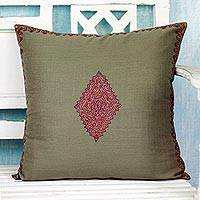Wool cushion cover, 'Forest Delight' - Cushion Cover Handcrafted in India Embroidered with Diamond