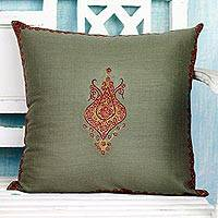 Wool cushion cover, 'Kashmir Majesty II' - Kashmiri Hand Embroidered Wool Cushion Cover