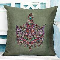 Wool cushion cover, 'Paisley Dream' - Cushion Cover Handcrafted in India Embroidered with Paisley