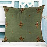 Wool cushion cover, 'Paisley Forest' - Cushion Cover Handcrafted in India Embroidered with Paisley