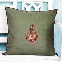 Embroidered wool cushion cover, 'Glorious Meadow Bloom' - Embroidered Wool Cushion Cover with Paisley Floral Motif