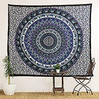 Cotton wall hanging, 'Beautiful Mandala' - Indian Printed Mandala Wall Hanging in Black and Blue