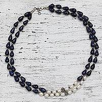 Lapis lazuli and cultured pearl two-strand necklace, 'Beautiful Alliance' - Lapis Lazuli and Cultured Pearl Two-Strand Silver Necklace