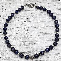 Lapis lazuli beaded necklace, 'Indigo Allure' - Lapis Lazuli and Sterling Silver Necklace from India