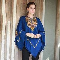 Wool poncho, 'Majestic Garden' - Indian 100% Wool Poncho in Royal Blue with Aari Embroidery