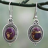 Sterling silver dangle earrings, 'Purple Glory' - Hand Made Purple Turquoise Dangle Earrings from India