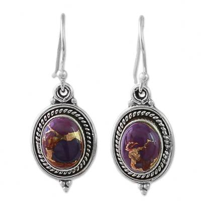 Hand Made Purple Turquoise Dangle Earrings from India