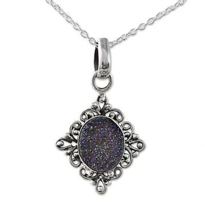 Hand Made Drusy Quartz Pendant Necklace from India