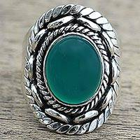 Quartz cocktail ring, 'Majestic Green' - Hand Made Green Quartz Silver Cocktail Ring from India