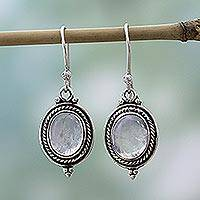 Rainbow moonstone dangle earrings, 'Moonlit Charm' - Sterling Silver Rainbow Moonstone Dangle Earrings India