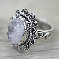 Rainbow moonstone cocktail ring, 'Moonlit Charm' - Silver Rainbow Rainbow Moonstone Cocktail Ring India