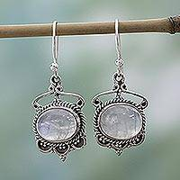 Rainbow moonstone dangle earrings, 'Moonlit Decadence' - Sterling Silver Rainbow Moonstone Dangle Earrings from India