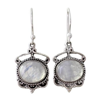 Indian Rainbow Moonstone Sterling Silver Dangle Earrings