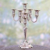 Nickel plated brass candelabra, 'Majestic Glow' (15 inch) - Nickel Plated Brass Candelabra (15 Inch)