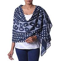 Cotton batik shawl, 'Loopy Allure' - 100% Cotton Batik Shawl with Circle Print Handmade in India