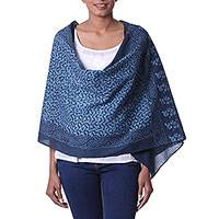Cotton batik shawl, 'Blue Wave' - 100% Cotton Batik Shawl in Shades of Blue Handmade in India