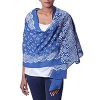 Cotton batik shawl, 'Garden Party' - 100% Cotton Batik Shawl with Floral Print Handmade in India