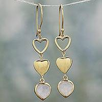 Gold plated rainbow moonstone dangle earrings, 'Three Hearts in Harmony' - Gold Plated Heart Earrings with Indian Rainbow Moonstone