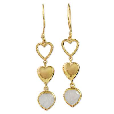 Gold Plated Heart Earrings with Indian Rainbow Moonstone