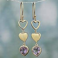 Gold plated amethyst dangle earrings, 'Three Hearts in Harmony' - Amethyst and Gold Plated Heart Hook Earrings from India
