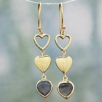 Gold plated labradorite dangle earrings, 'Three Hearts in Harmony' - Gold Plated and Labradorite Heart Hook Earrings from India