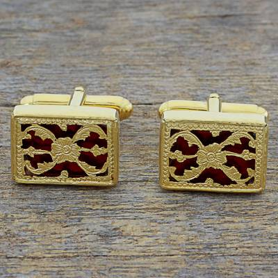 Novica Gold plated cufflinks, Golden Glory