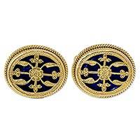 Gold plated cufflinks, 'Blue Glory' - Hand Made Blue Gold Cufflinks from India