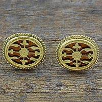 Gold plated cufflinks, 'Golden Glory' - Hand Made Gold and Glass Cufflinks from India