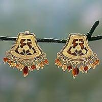 Gold plated hessonite chandelier earrings, 'Glorious Glamour' - Gold Plated Hessonite Chandelier Earrings from India