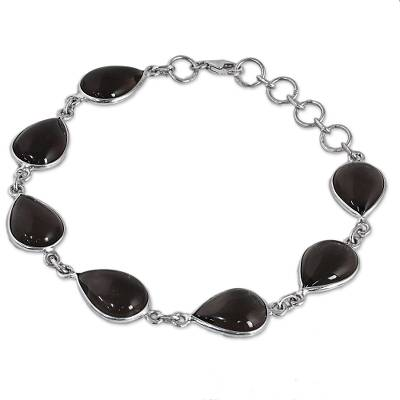 Hand Made Smoky Quartz Silver Link Bracelet from India