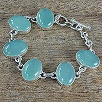 Chalcedony link bracelet, 'Aqua Beauty' - Hand Made Aqua Chalcedony Silver Link Bracelet from India