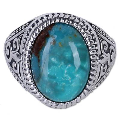 Sterling silver single-stone ring, 'Radiant Blue Beauty' - Sterling Silver Cocktail Ring with Reconstituted Turquoise