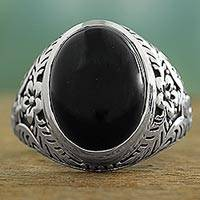 Onyx cocktail ring, 'Radiant Black Beauty' - Onyx and Sterling Silver Cocktail Ring with Floral Motif