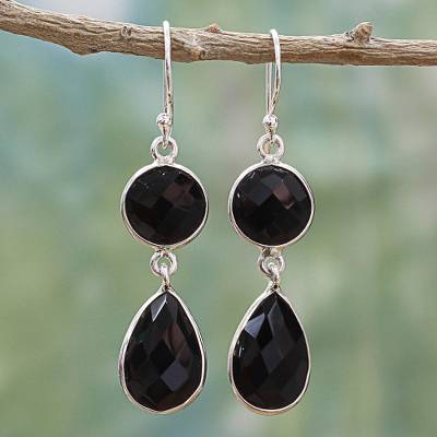 Onyx dangle earrings, 'Magical Charm' - Dual Onyx Gemstone Dangle Earrings with Sterling Silver