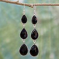 Onyx dangle earrings, 'Magical Elegance' - Triple Onyx Stone Dangle Earrings with Sterling Silver