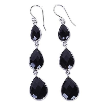 Onyx dangle earrings, 'Magical Elegance' - Triple Onyx Stone Dangle Earrings with Sterling Silver
