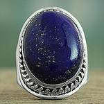 Lapis Lazuli Sterling Silver Ring Handmade in India, 'Captivating Blue'