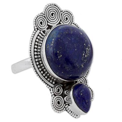 Lapis lazuli cocktail ring, 'Glamorous Blue' - Hand Made Lapis Lazuli Cocktail Ring Rava Motif India