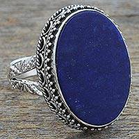 Lapis lazuli cocktail ring, 'Pool of Memories' - Hand Made Blue Oval Lapis Lazuli Cocktail Ring India