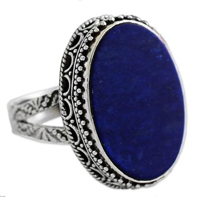 Lapis lazuli cocktail ring, 'Pool of Memories' - Hand Made Blue Oval Lapis Lazuli Cocktail Ring India