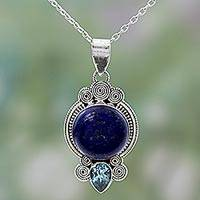 Lapis lazuli pendant necklace, 'Glamorous Blue' - Hand Made Lapis Lazuli Blue Topaz Pendant Necklace India