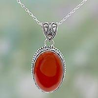 Carnelian pendant necklace, 'Fiery Glamour' - Hand Made Red Carnelian Pendant Necklace from India
