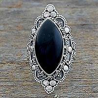 Onyx cocktail ring, 'Midnight Grandeur' - Hand Made Sterling Silver Onyx Cocktail Ring from India