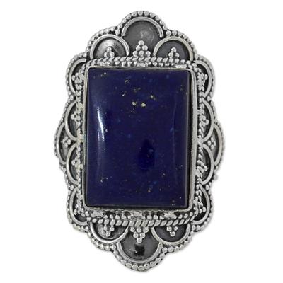 Lapis lazuli cocktail ring, 'Starry Splendor' - Hand Made Sterling Silver Lapis Lazuli Cocktail Ring India