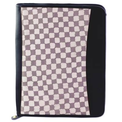 Batik Cotton File Holder Checkered Motif in Stone from India