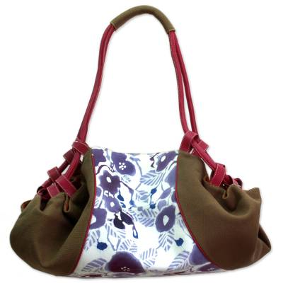 Batik Printed Cotton and Leather Duffel Bag from India